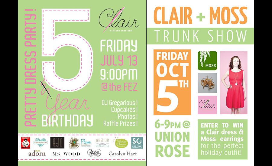 flyer design for parties and trunk shows